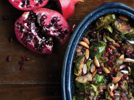 Roasted Brussel Sprouts with Toasted Almonds & Pomegranates