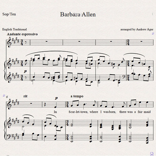 BarbaraAllen - sop or tenor/piano