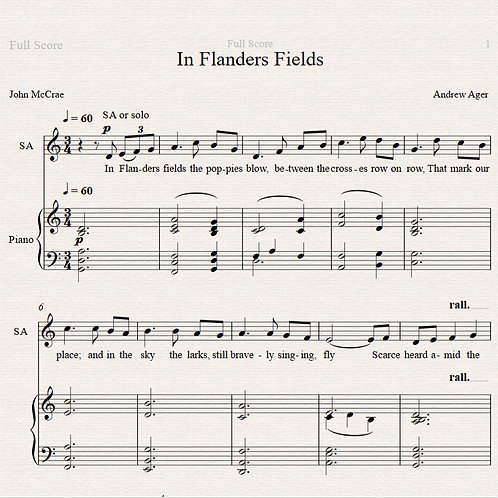 In Flanders Fields - sop/ten solo