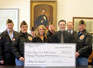 Clarendon VFW/Am Vets Post 314 Becomes Lead Donor on Baby Arch project