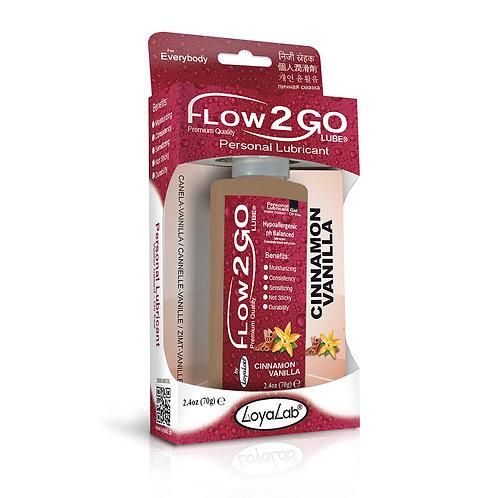 Gel Lubricante Intimo Premium Base Agua, Flow2GO Lube de Canela Vainilla 70 g
