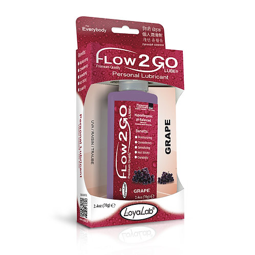 Gel Lubricante Intimo Premium Base Agua, Flow2GO Lube de Uva 70 g