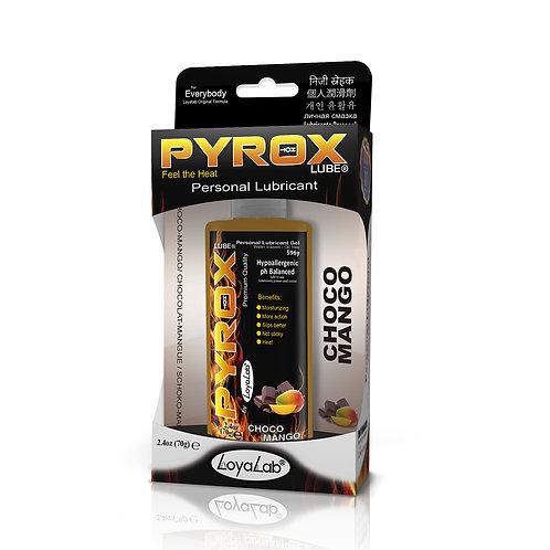 Gel Lubricante Intimo Efecto Calor, Pyrox Lube de Choco Mango 70 g