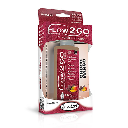 Gel Lubricante Intimo Premium Base Agua, Flow2GO Lube de Choco Mango 70 g