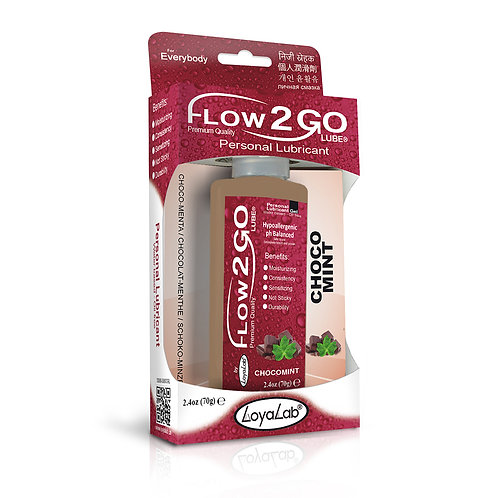Gel Lubricante Intimo Premium Base Agua, Flow2GO Lube de Choco Menta 70 g
