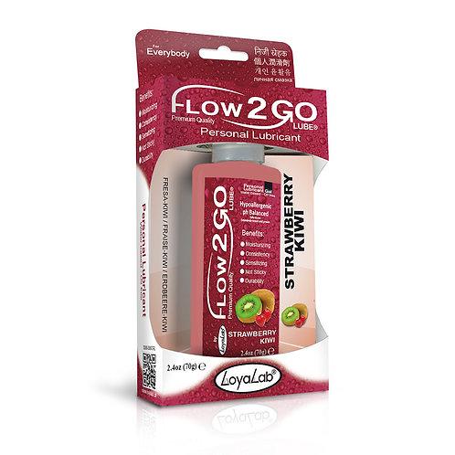Gel Lubricante Intimo Premium Base Agua, Flow2GO Lube de Kiwi Fresa 70 g