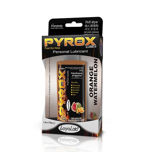 Gel Lubricante Intimo Efecto Calor, Pyrox Lube de Sandía Naranja 70 g