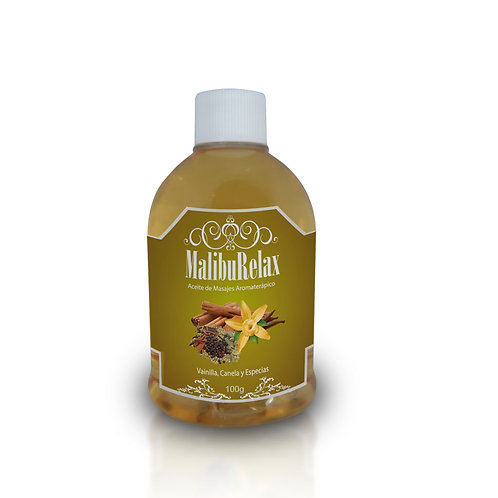 Aceite para Masajes Aromaterápico MalibuRelax Aroma Vainilla Canela y Especias 1