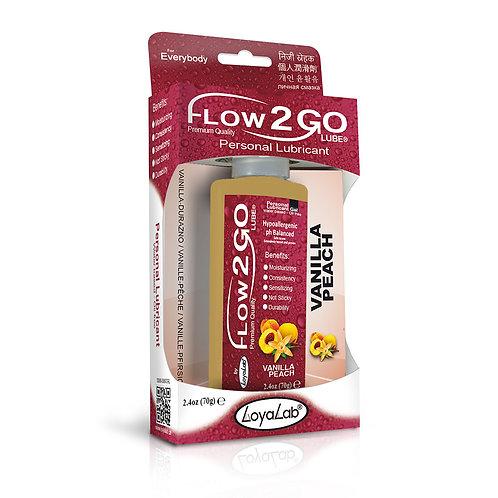 Gel Lubricante Intimo Premium Base Agua, Flow2GO Lube de Vainilla Durazno 70 g