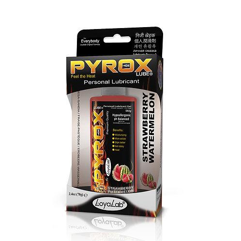 Gel Lubricante Intimo Efecto Calor, Pyrox Lube de Fresa Sandía 70 g