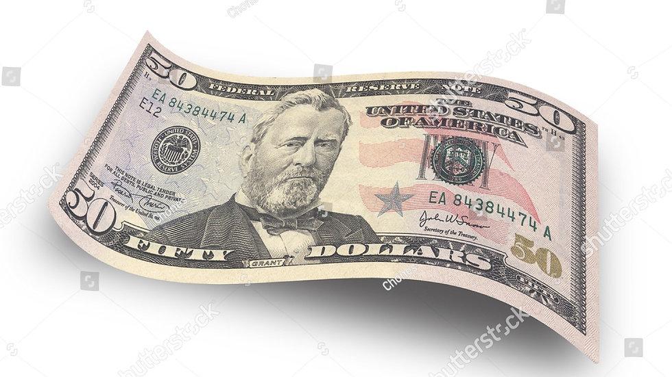 Penerima Mendapat   : USD $50
