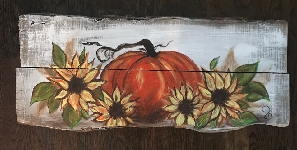 Pumpkin 'n Sunflowers - SOLD
