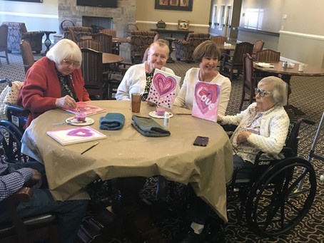 Fun day with residents at North Georgia Assisted Living painting hearts! Click on photo for more...