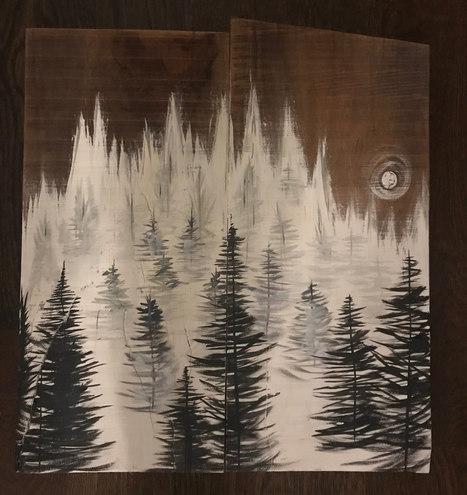 Misty Pines in Moonlight - SOLD