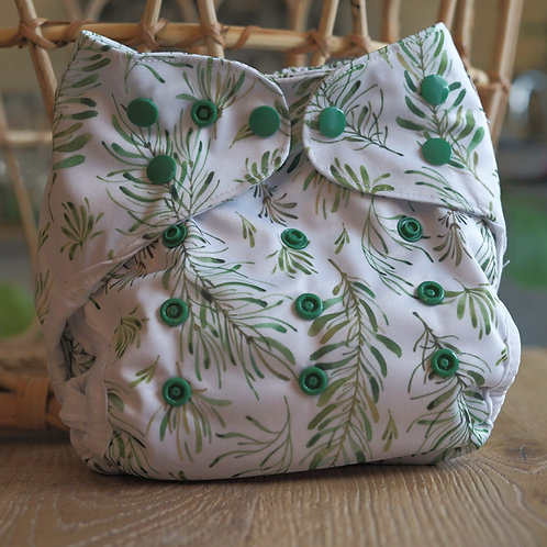 Flaww - Fiyyah reusable cloth nappy econo cover evergreen white with elegant green leaves and flowers