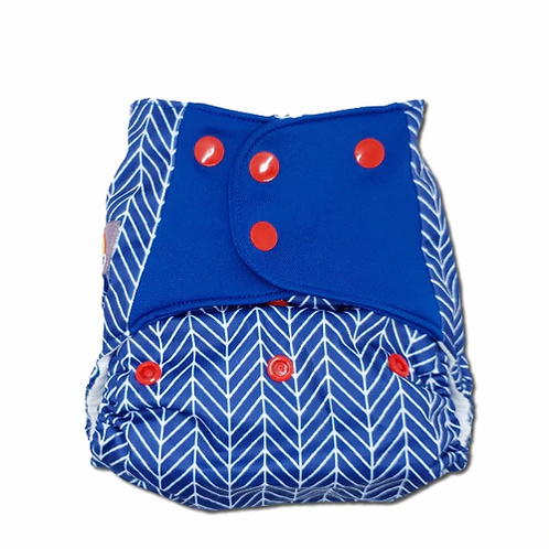 little lovebum reusable cloth nappy pocket nappy stretchy tabs captain print smart nautical theme navy blue with red white