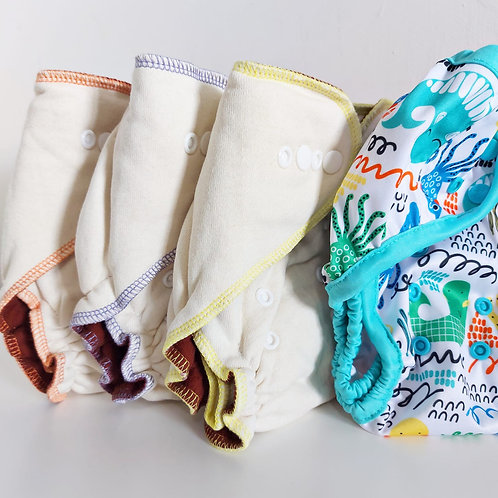 Bundle Deal - Hemp Fitted Nappies x 3, 1 Wrap
