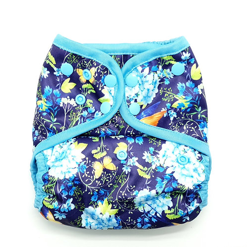 little lovebum everyday aio reusable cloth nappy all in one absorbent for baby  a wonderful world blue nappy flowers bird