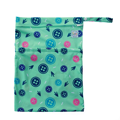 evia nappies double zip wet bag for cloth nappy storage green print with big button images
