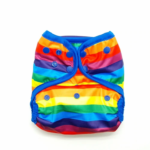 little lovebum aio quickdry all in one reusable cloth nappy with poppers stormborn rainbow bright with blue trim