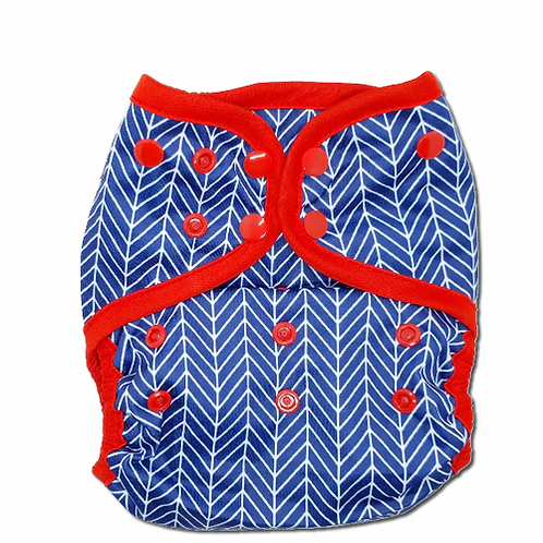 little lovebum everyday aio reusable cloth nappy all in one absorbent for baby captain print smart nautical blue red white