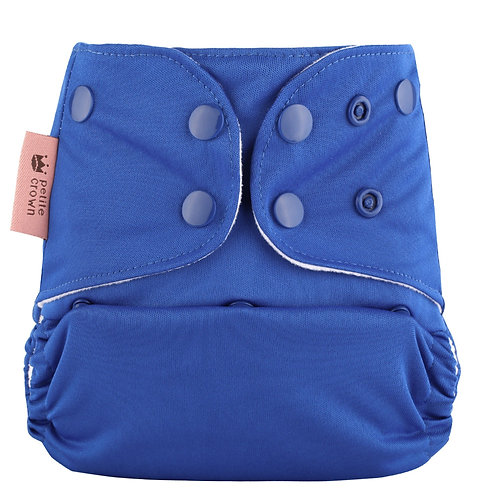 petite crown packa reusable pocket cloth nappy cobalt blue solid colour