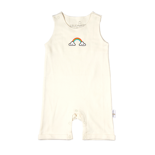flaww talula little sleeveless cream romper rainbow embroidered front