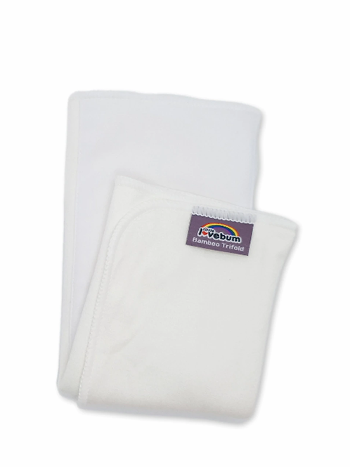 little lovebum reusable cloth nappy trifold booster night time absorbent white insert