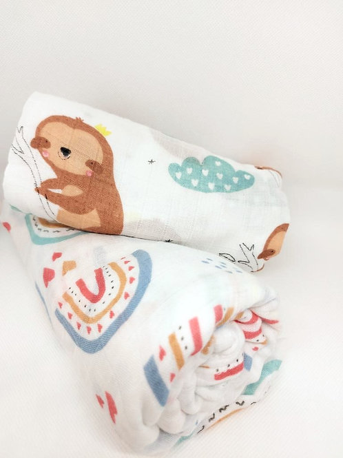 Flaww large muslin swaddle cloth bamboo cotton sloth print and heart print