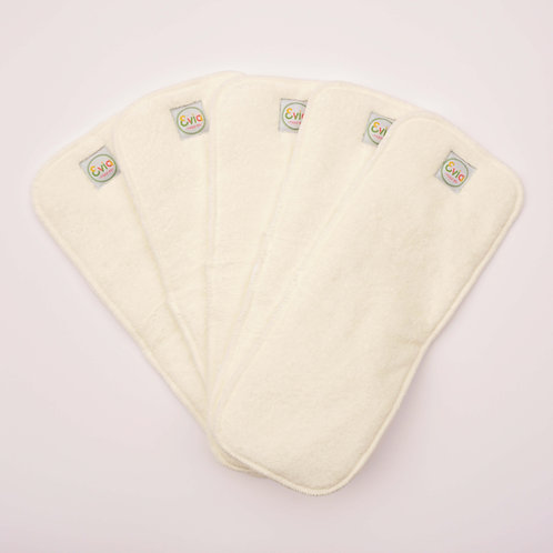 evia nappies bamboo terry boosters cloth nappy inserts displayed in a fan