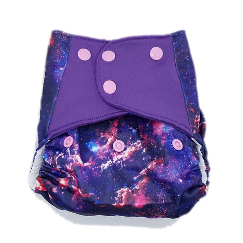 Flaww - Little Lovebum Pocket nappy reusable cloth nappy hera galaxy print purple and pinks
