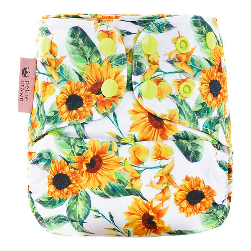 petite crown swim nappy pocket shell reusable eco friendly soleil print white with bright yellow and green sunflowers