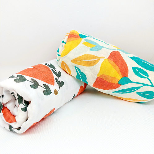 Flaww large muslin swaddle cloth bamboo cotton 2 stacked on top