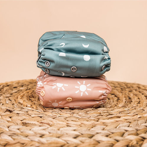 lighthouse kids company nappy peach and teal nappies