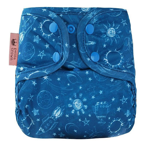 petite crown absorbent reusable cloth nappy for baby astro blue space print