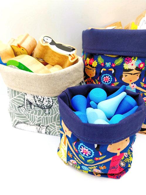 Forest & Leaf Handmade Canvas Plant Pot / Small Storage Bag