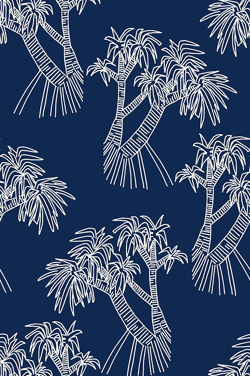 bare and boho print sample of panadus navy blue with white palm trees swimsuit