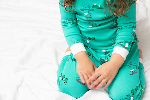 flaww talula little green pjs on a toddler