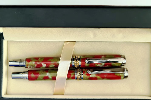Silver Omega Fountain Pen and Rollerball Pen in Green and Red
