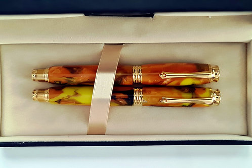 Pair 24ct Gold Plated Byron Rollerball and Fountain Pen set in Yellow and Orange