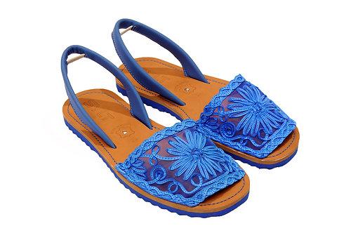 R.1121 Rasteira Avarca Azul Marinho Couro Renda