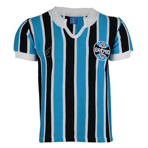 G34 Camisa Retro Grêmio Masculino 1977 Tricolor Nº 9 Azul / Preto / Branco