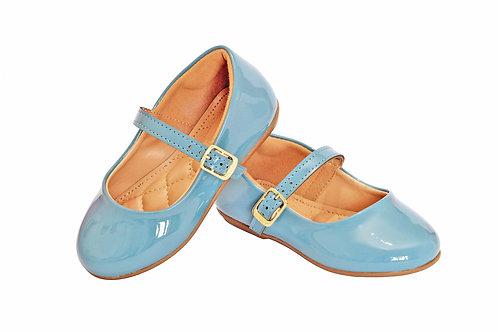 R.160 Sapatilha Infantil Bebê Azul Clara Nuvem Em Verniz
