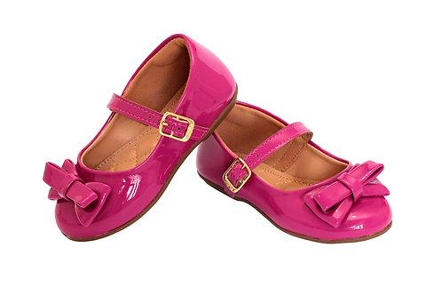 R.91 Sapatilha Infantil Bebê Rosa Pink Em Verniz Com Tope Na Frente