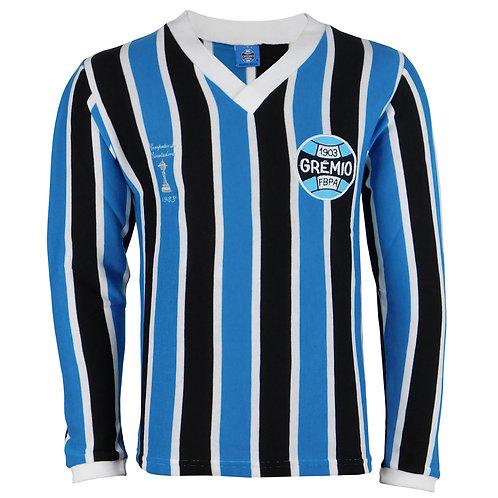 G470 Camisa Retro do Grêmio Masculino Manga Longa Tricolor ano 1983 Nº 7