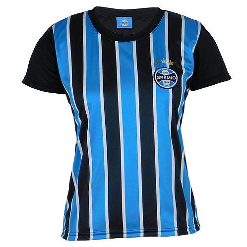G607F Baby Look Do Grêmio Feminino Azul  Preto Branco Tricolor Licenciado