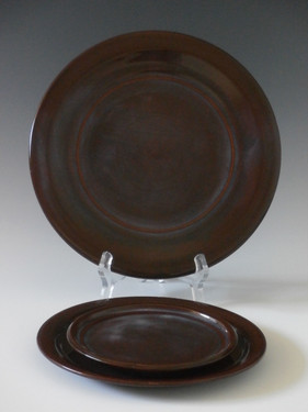 Set of three bread plates