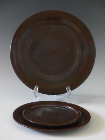 Set of three bread plates