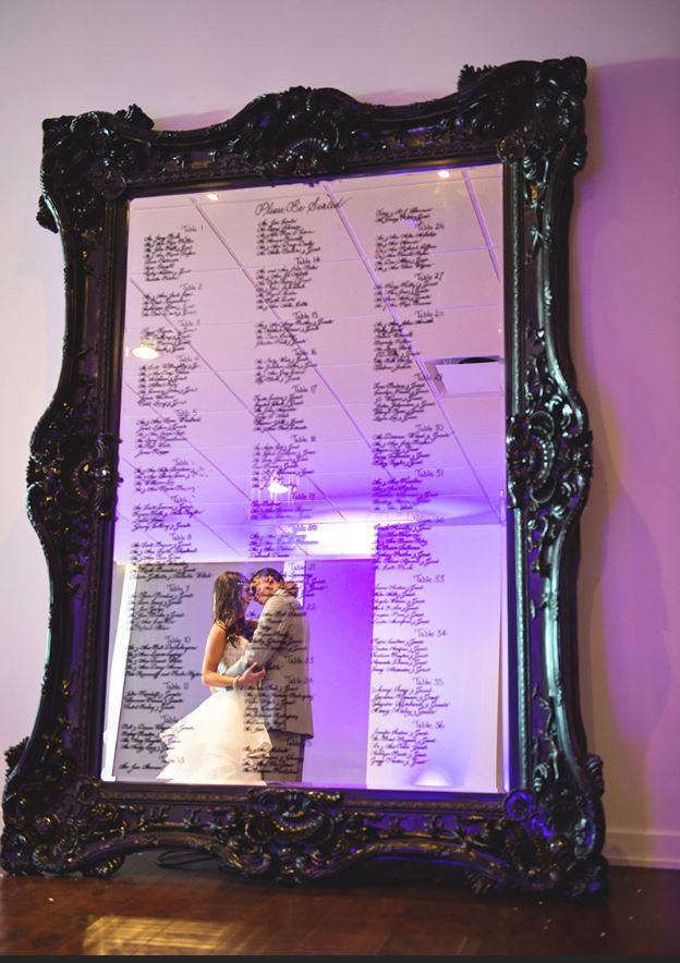 Instead of individual tents, why not create a unique escort board for the table assignments? All Thomas Venues are equipped with easels to help display most size frames or mirrors.