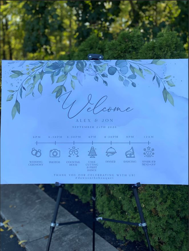 This custom designed sign as guests entered the ceremony area limited the physical contact by eliminating the need for programs.